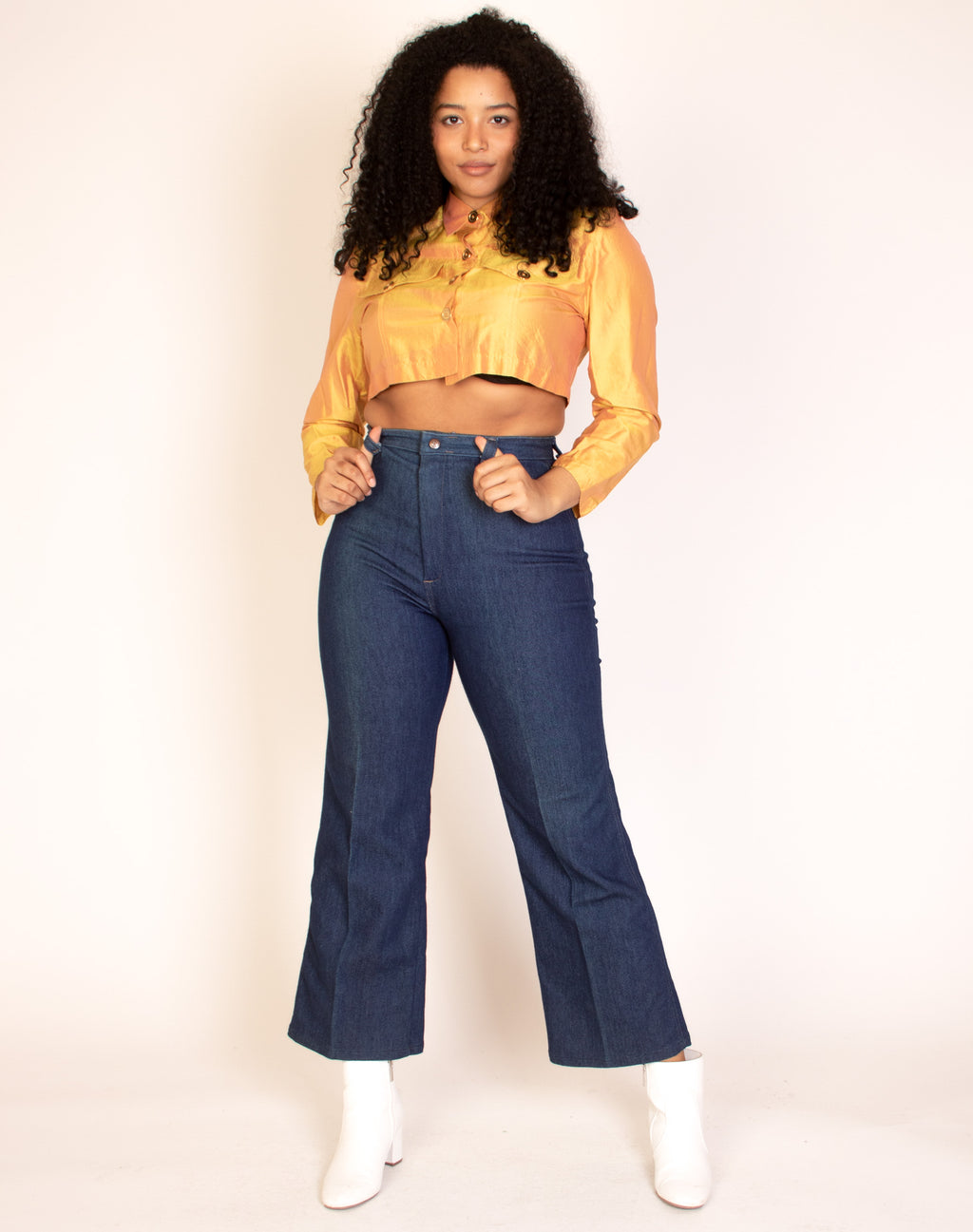METALLIC MUSTARD CROPPED SHIRT