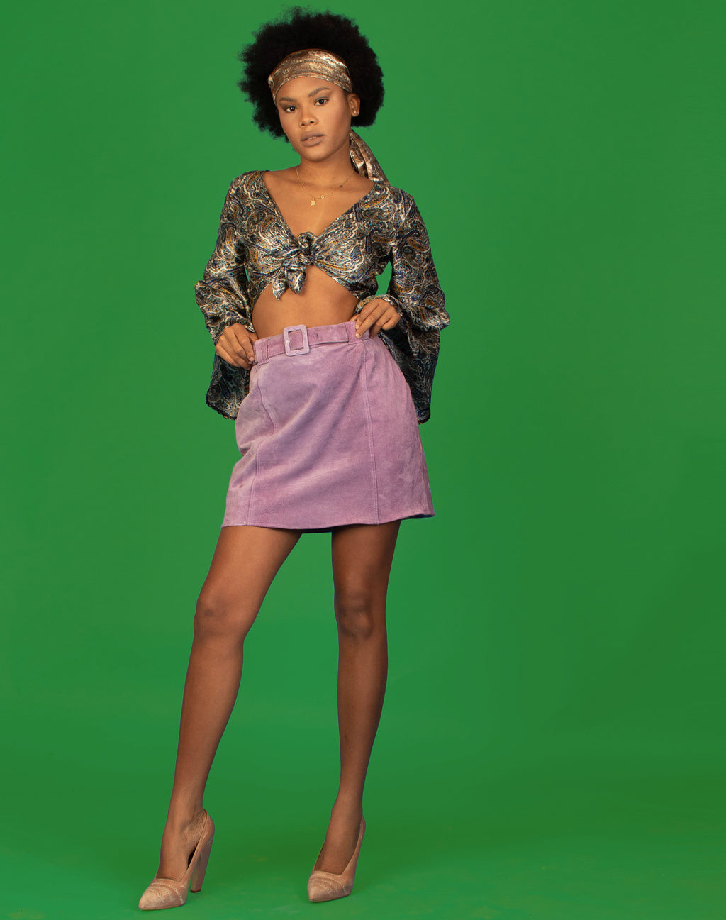LILAC SUEDE MINI SKIRT