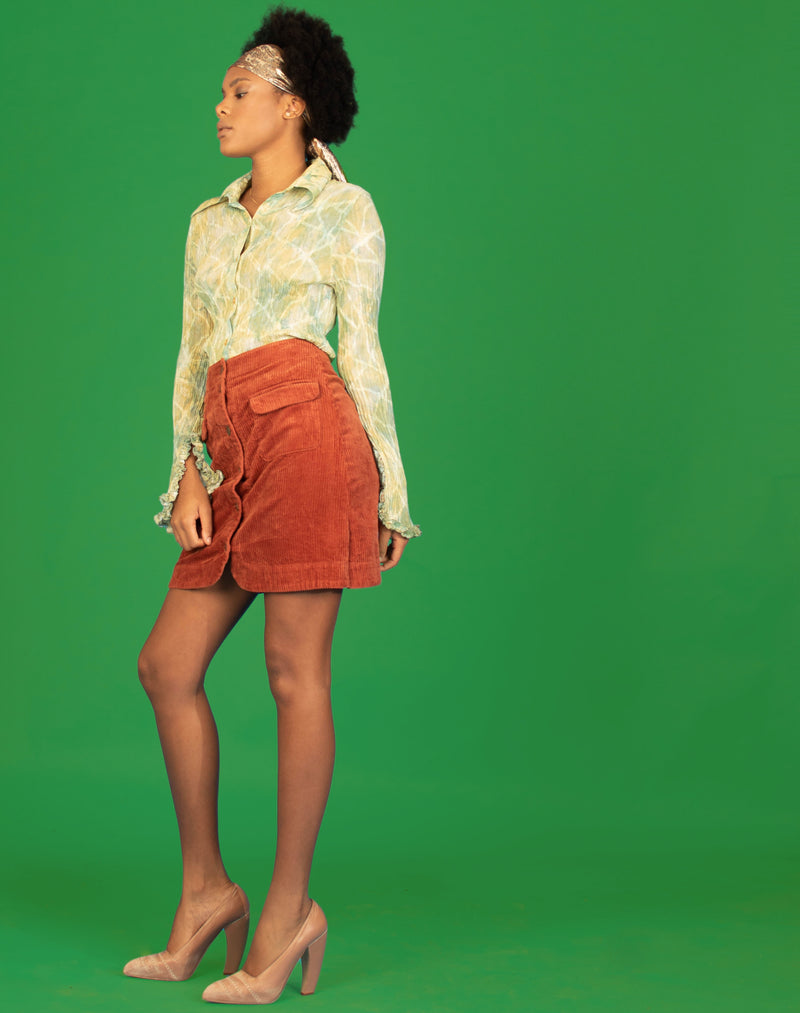 RUST CORD MINI SKIRT