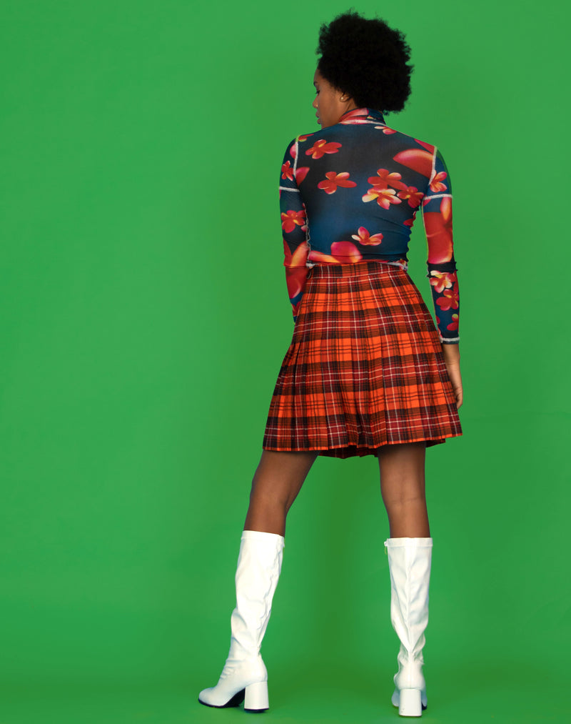 ORANGE TARTAN PLEATED SKIRT