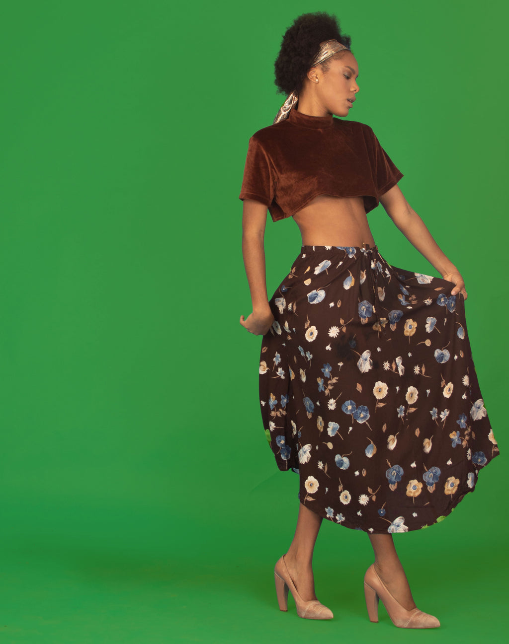BROWN FLORAL MAXI SKIRT