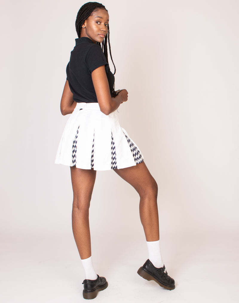 WHITE CHECKERBOARD TENNIS SKIRT