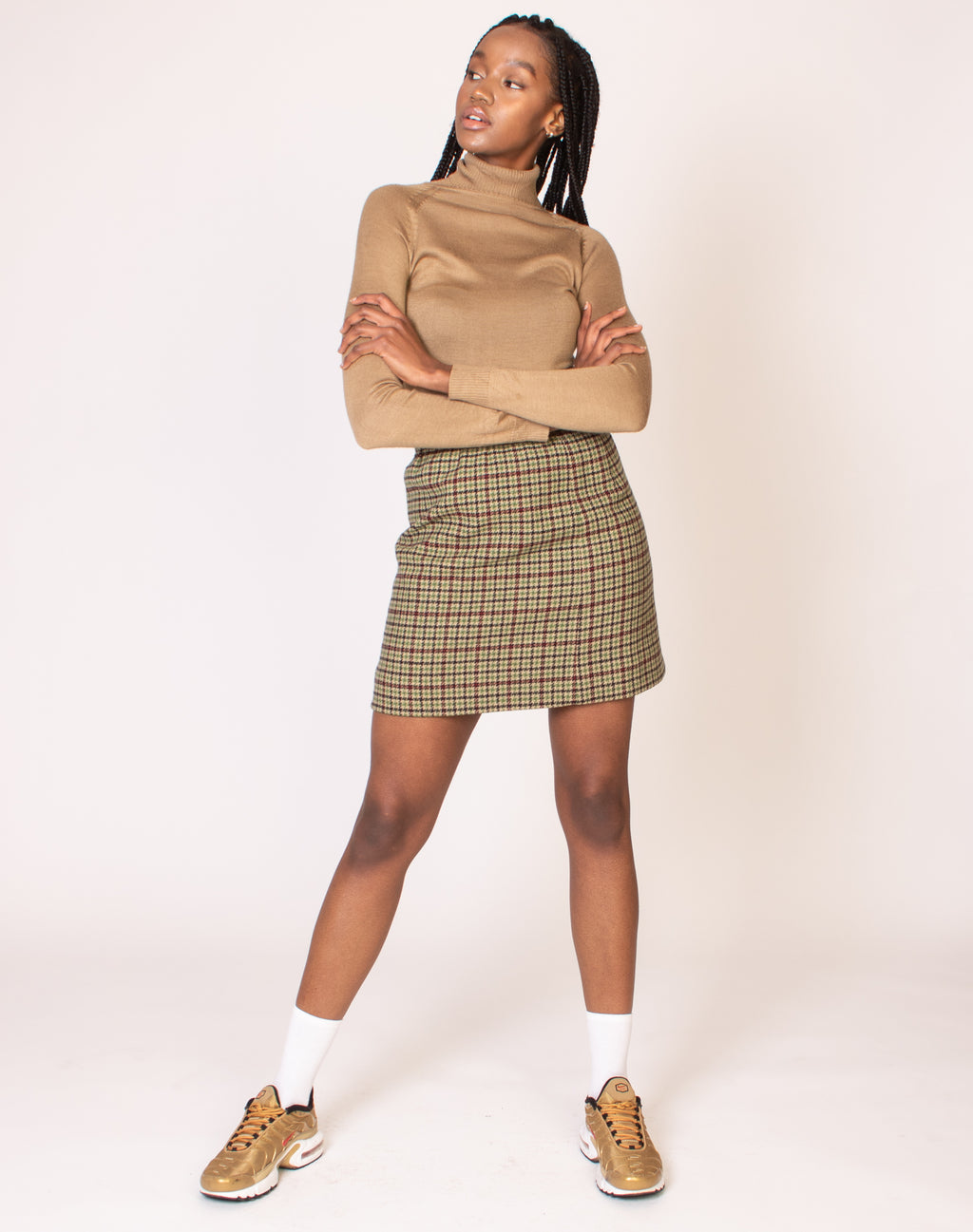 HOUNDSTOOTH CHECK WOOL SKIRT