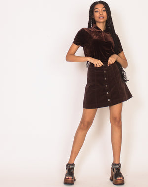 CORD BUTTON UP MINI SKIRT