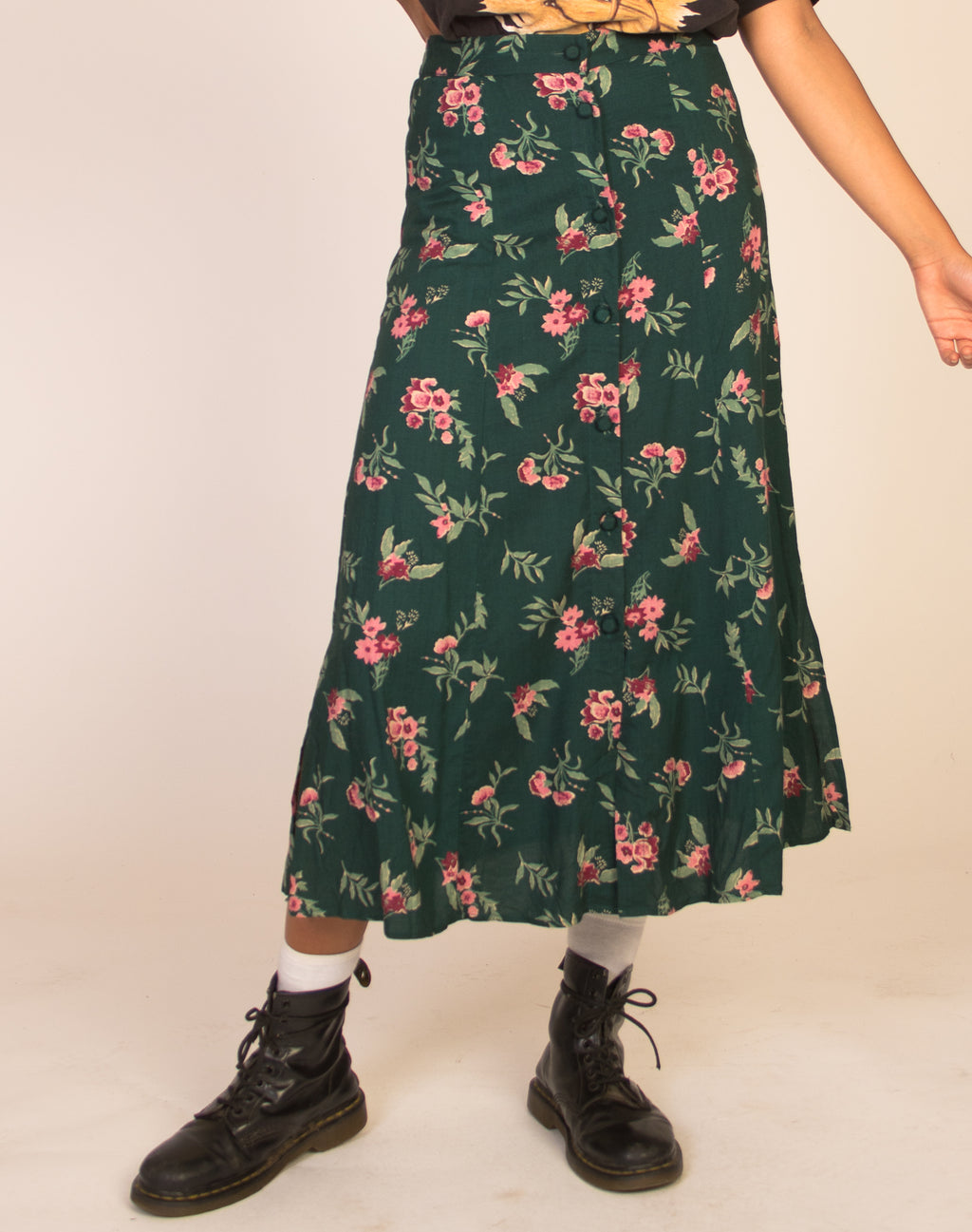 FOREST GREEN FLORAL SKIRT