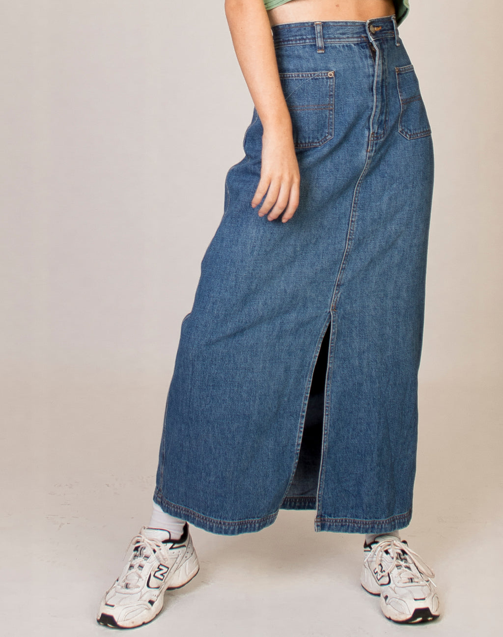 BLUE DENIM MAXI SKIRT