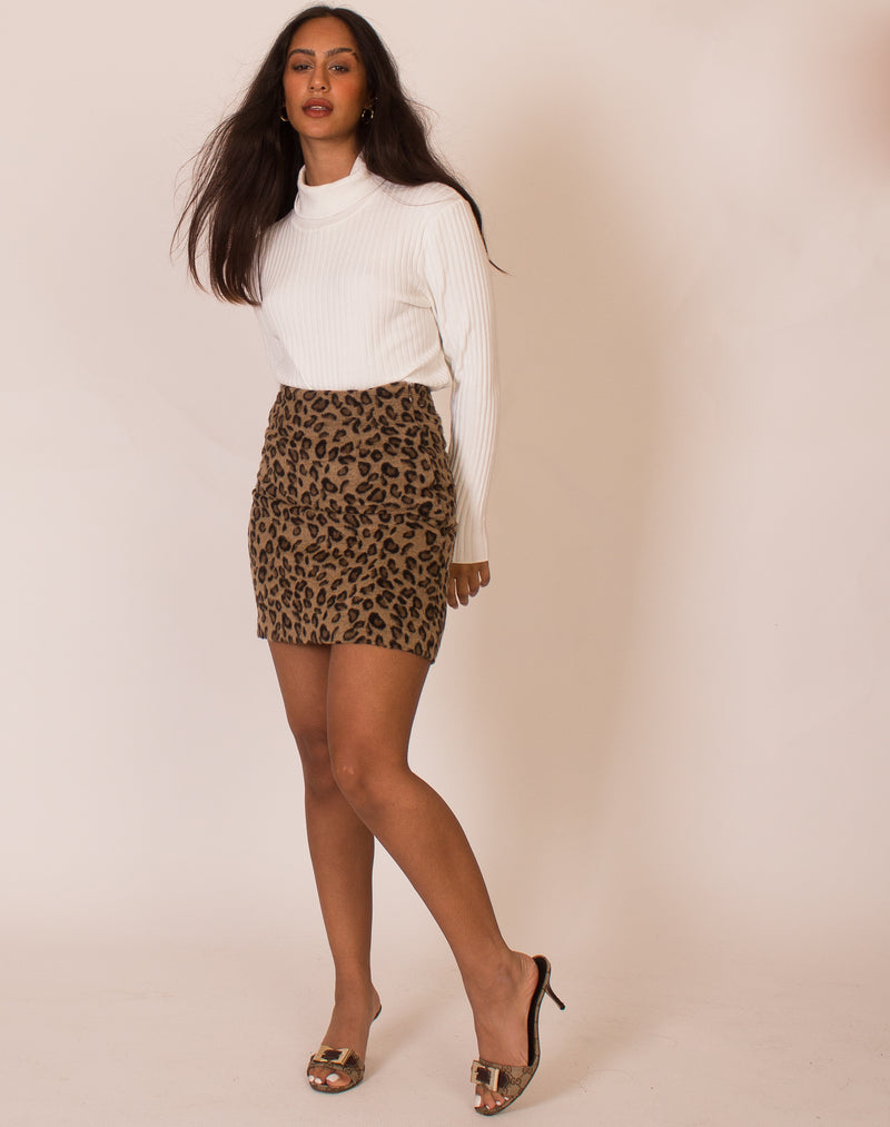 LEOPARD CORSET DETAIL MINI SKIRT