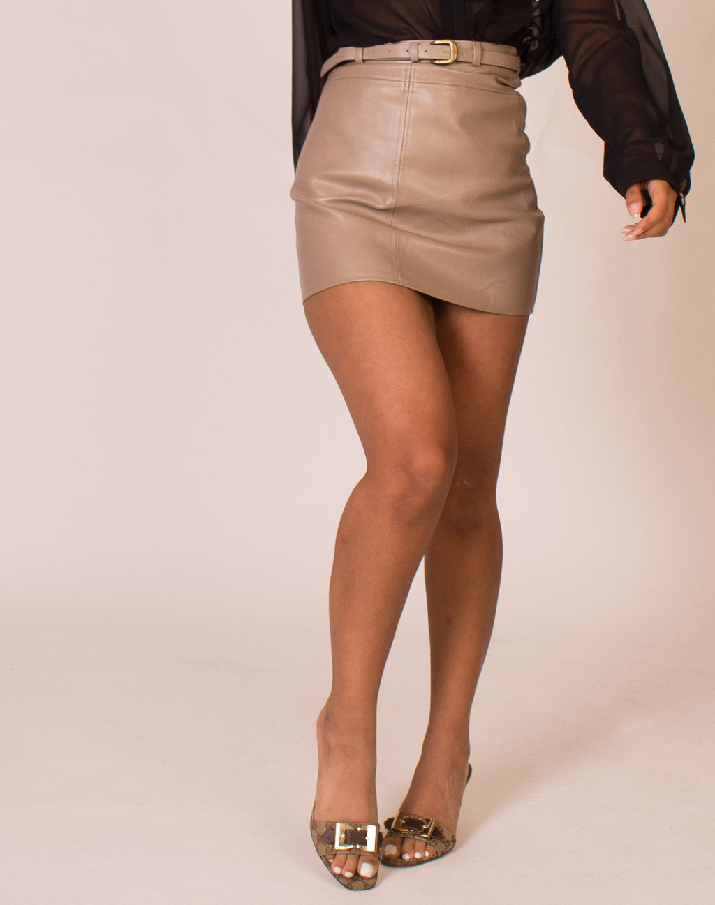 BELTED MINK LEATHER SKIRT