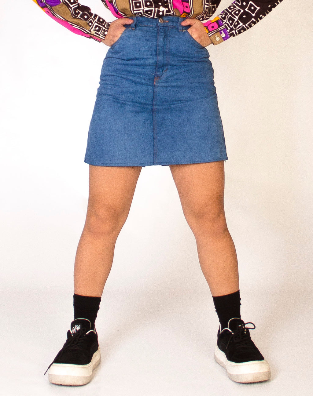 BLUE 70S DENIM MINI SKIRT