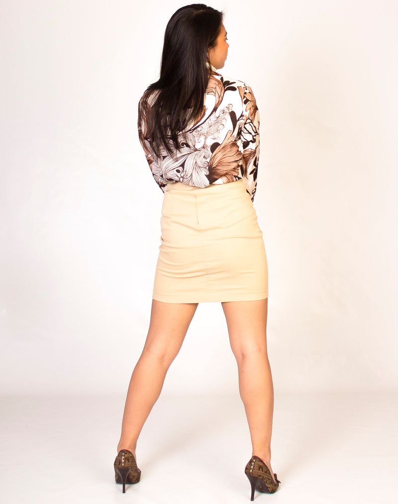 CREAM LINEN MINI SKIRT