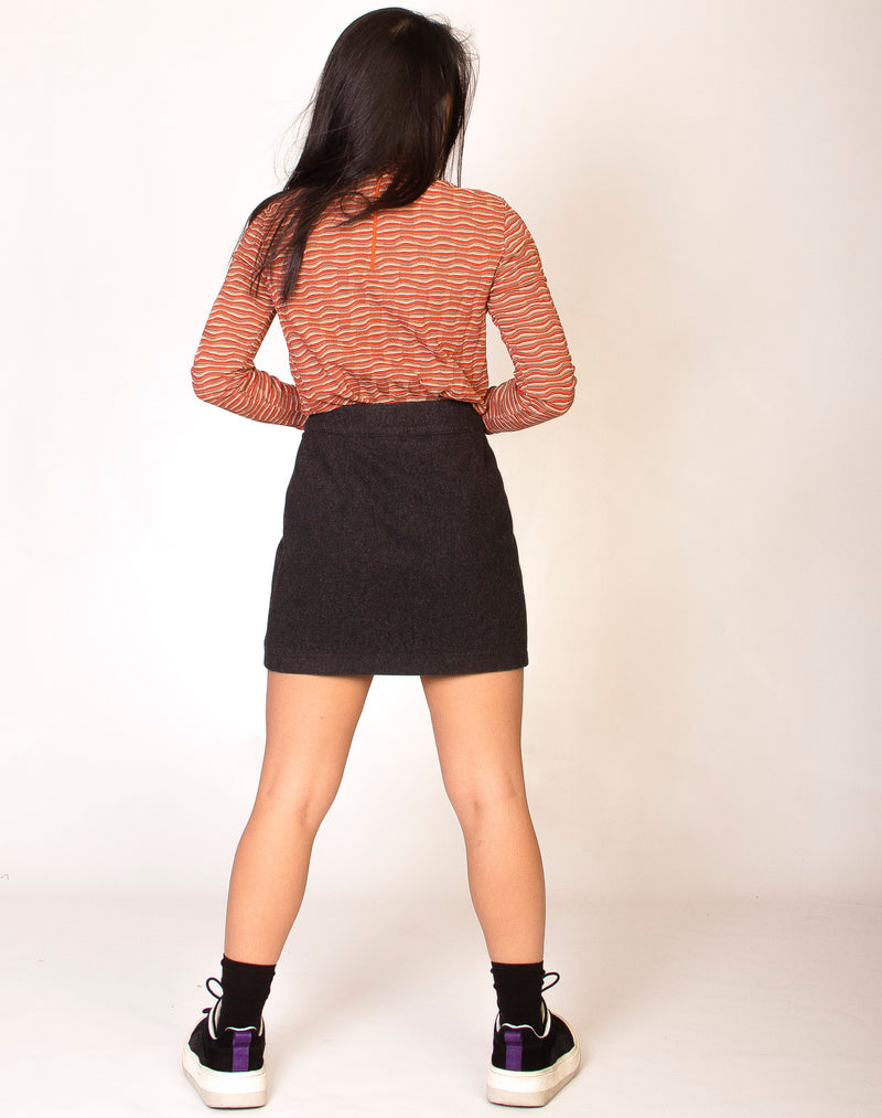 GREY BUTTON FRONT SKIRT