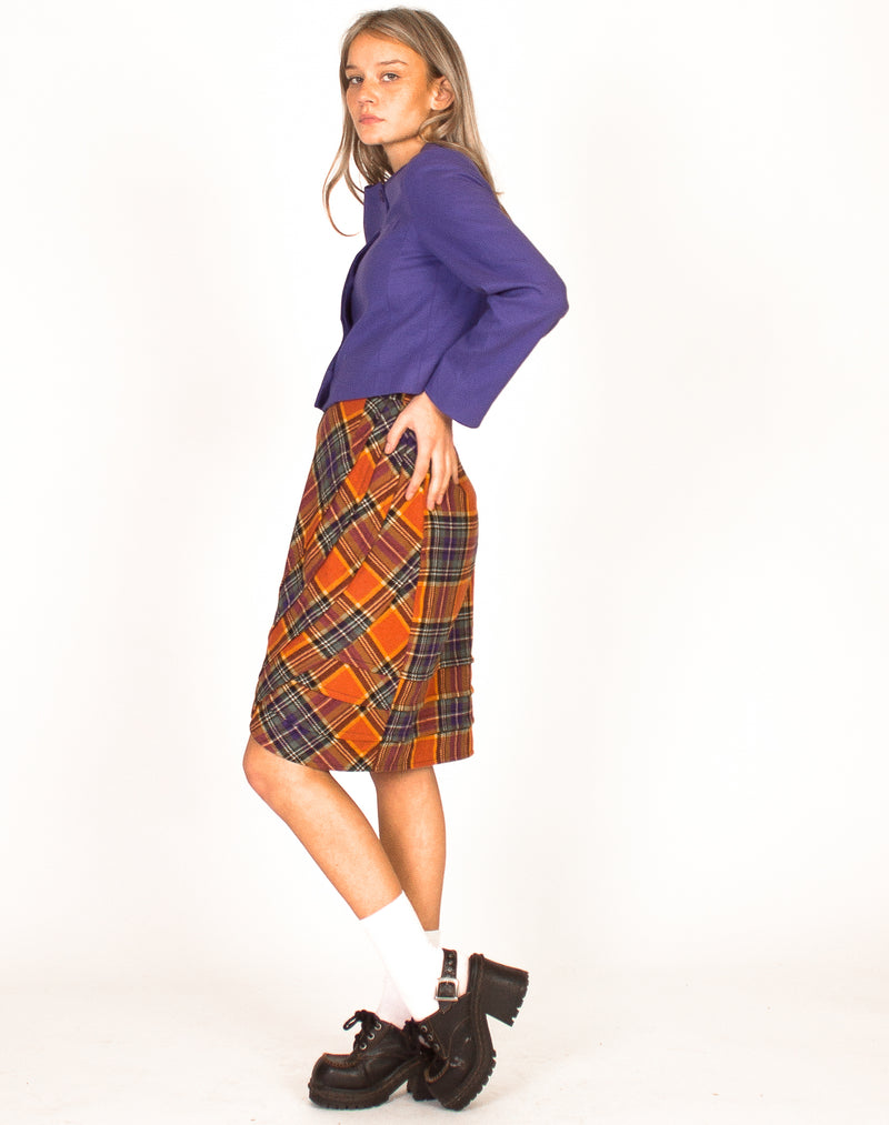 ORANGE TARTAN A-LINE SKIRT