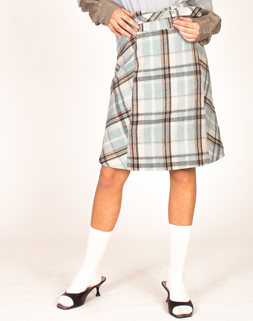 BABY BLUE CHECK A LINE SKIRT