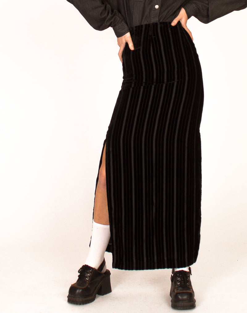 VELVET PIN STRIPE MAXI SKIRT