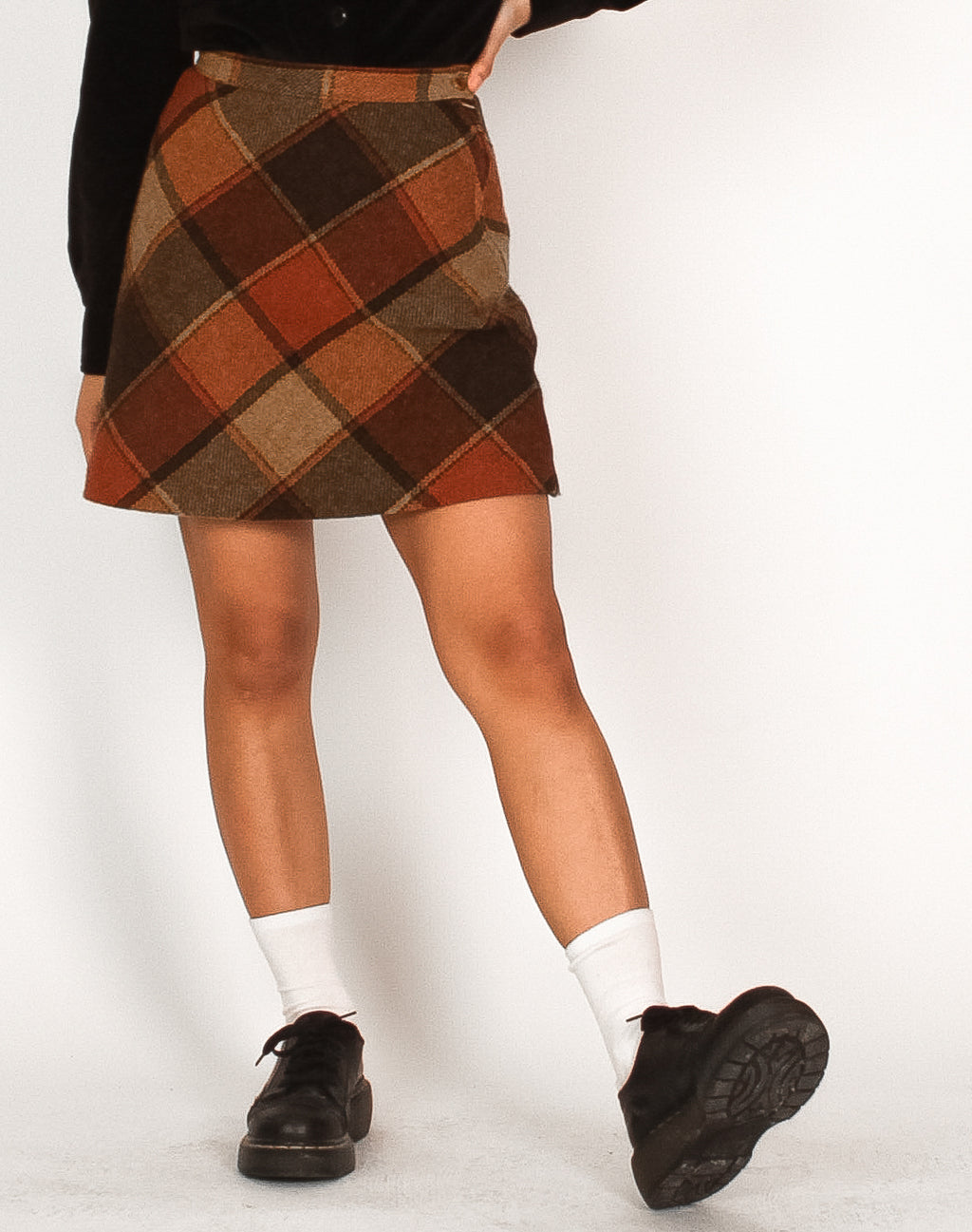 ORANGE PLAID MINI SKIRT
