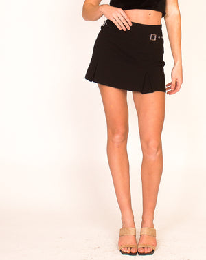 Y2K BLACK BUCKLE MINI SKIRT