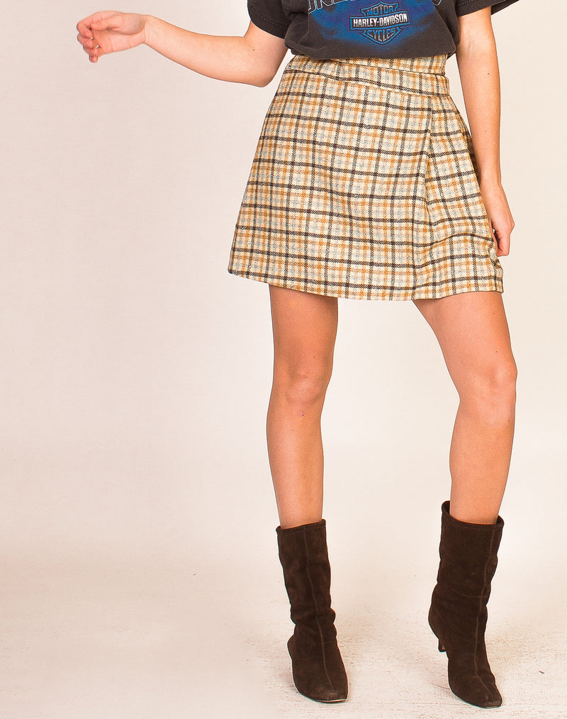 BEIGE AND BLUE CHECK PLEATED SKIRT