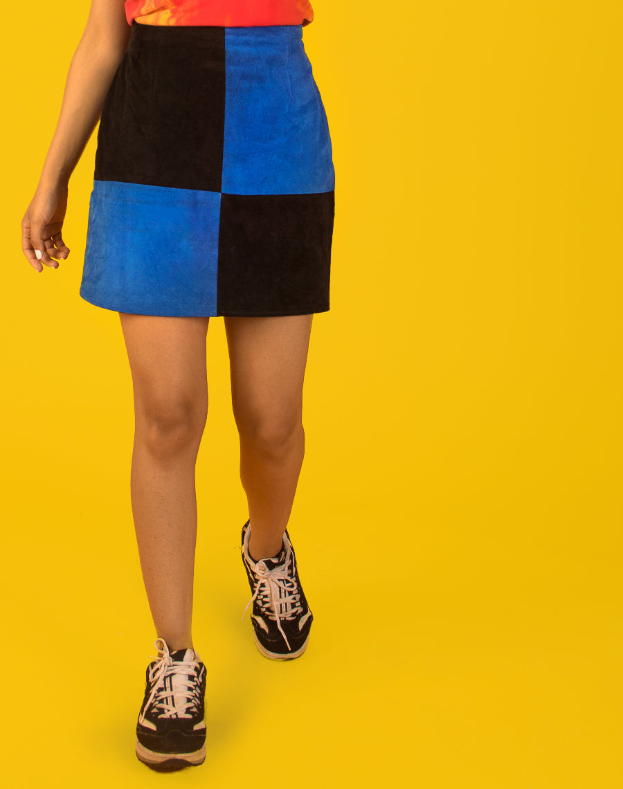BLUE COLOUR BLOCK SKIRT
