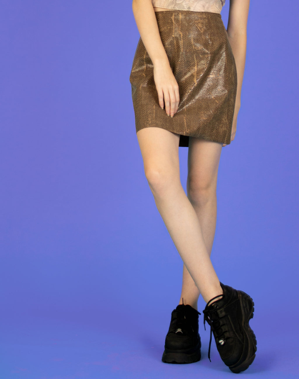 METALLIC BROWN SNAKESKIN SKIRT