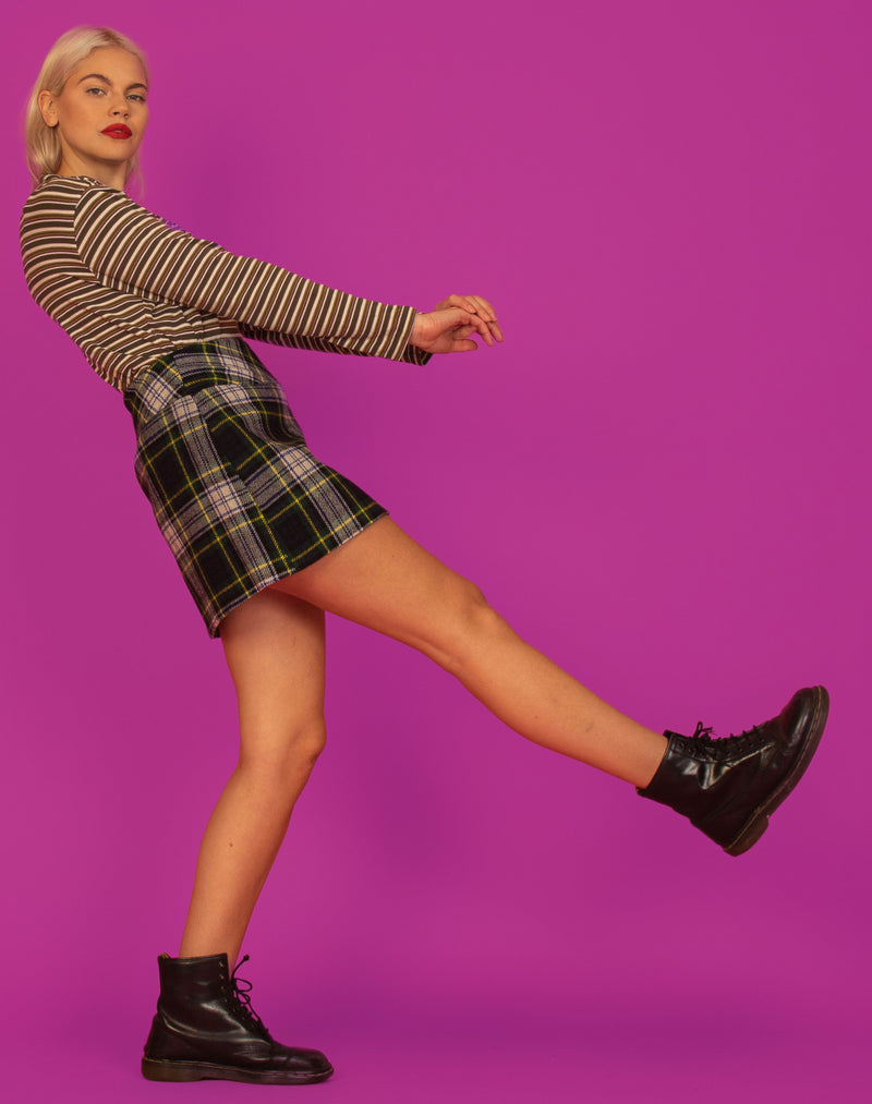 GREEN CHECK WOOL MINI SKIRT