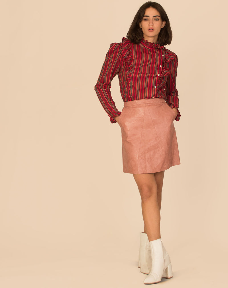 BLUSH LEATHER SKIRT