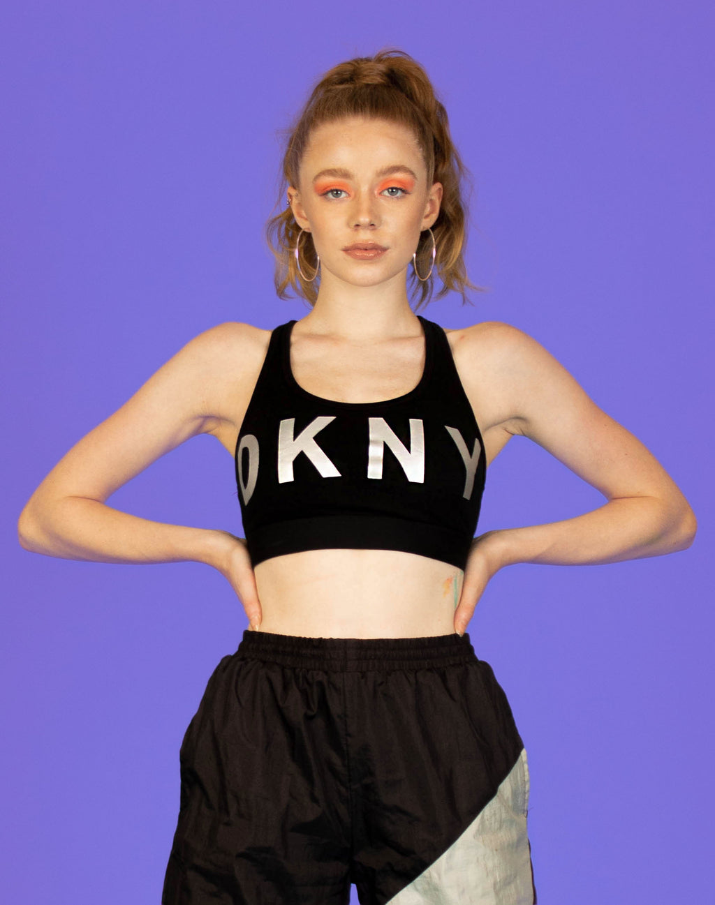 DKNY BLACK AND SILVER SPORTS BRA