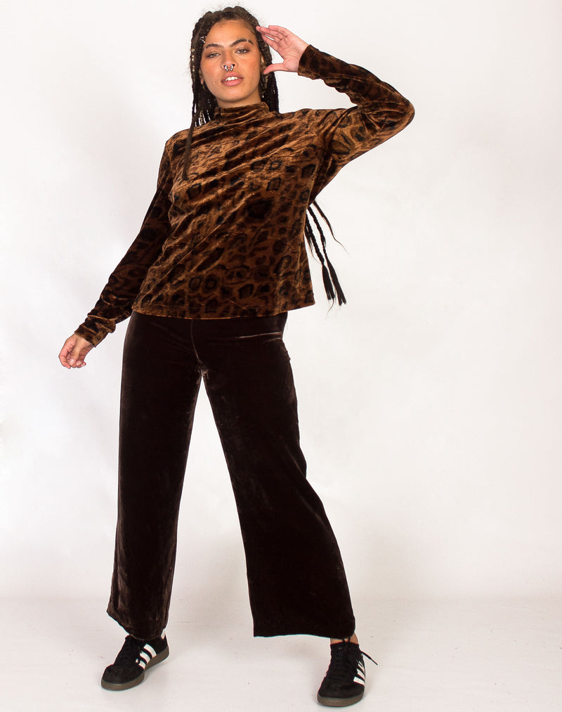 BROWN VELVET CHEETAH PRINT TURTLE NECK