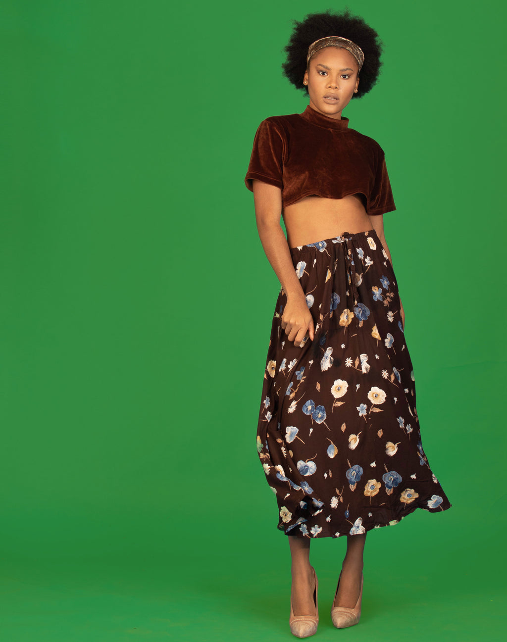 BROWN VELVET CROP TOP