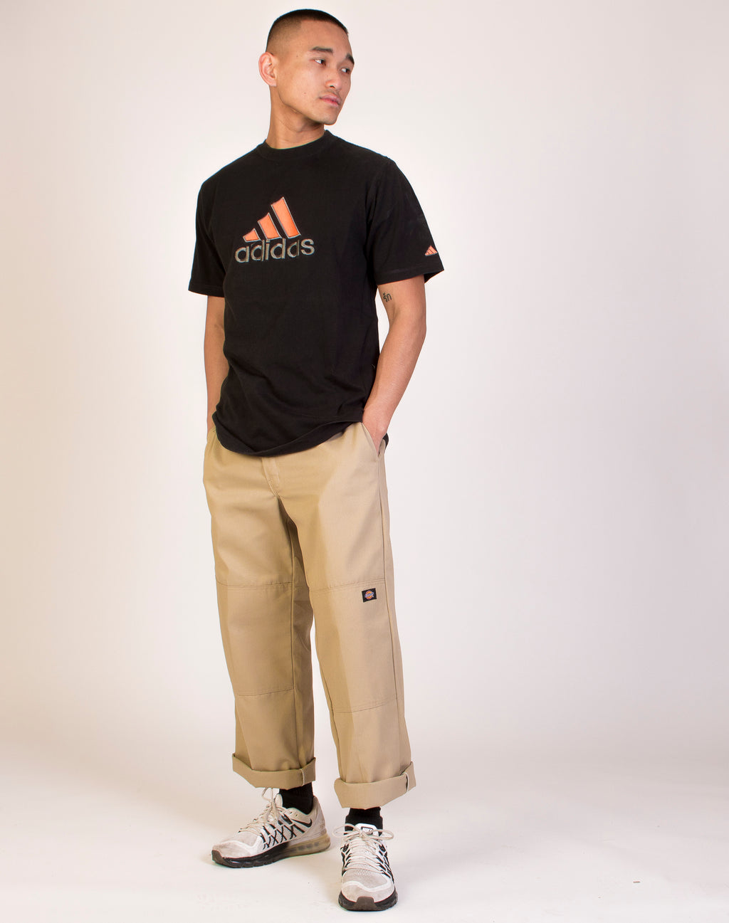 ADIDAS BLACK AND ORANGE LOGO TEE