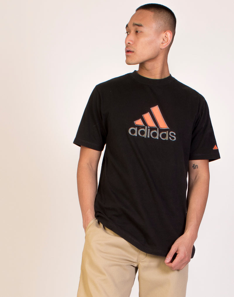 ADIDAS BLACK AND ORANGE LOGO T-SHIRT