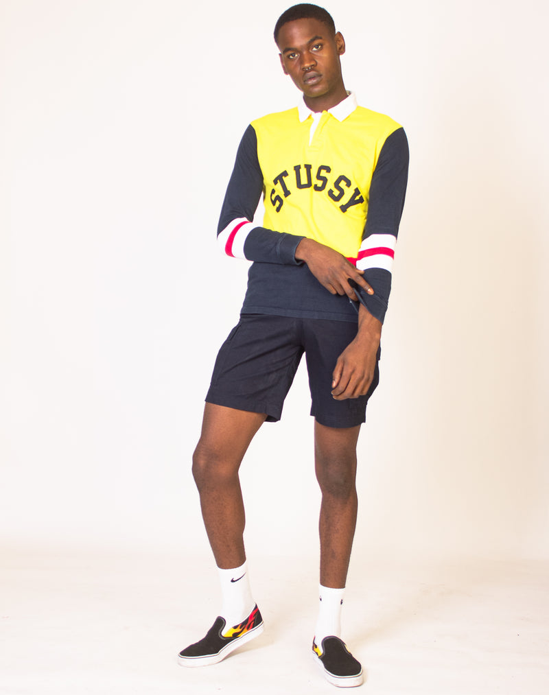 STUSSY YELLOW GRAPHIC RUGBY SHIRT