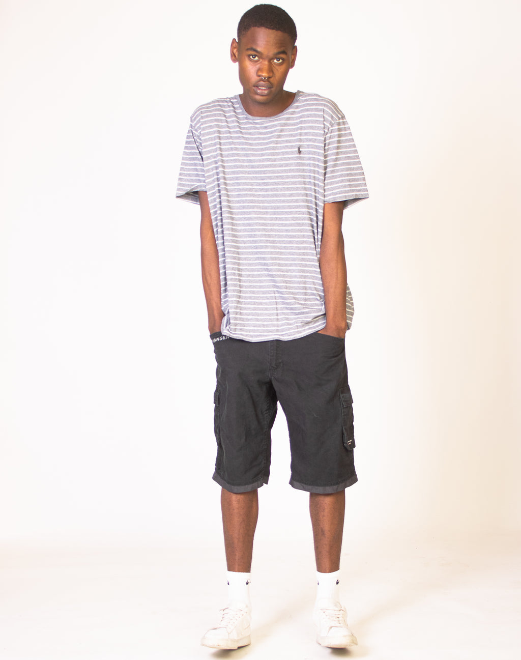 RALPH LAUREN GREY STRIPED T-SHIRT