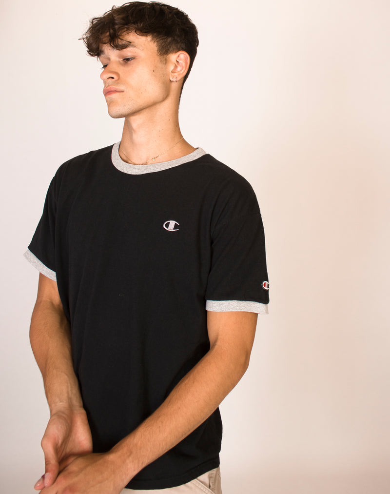 CHAMPION GREY AND BLACK RINGER TEE