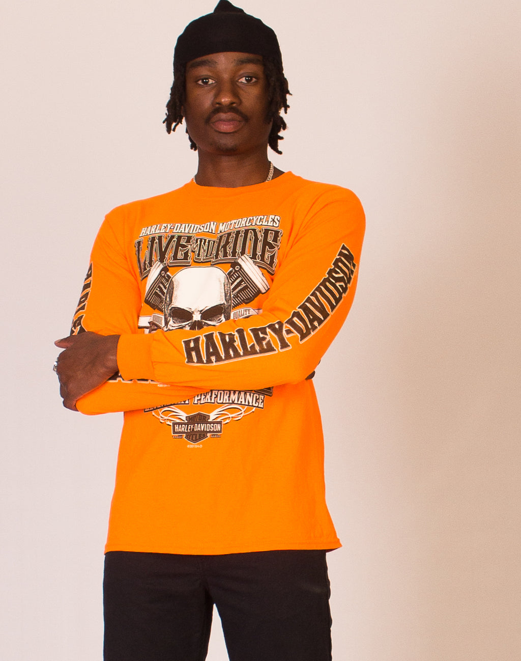 HARLEY DAVIDSON ORANGE LONG SLEEVE TEE