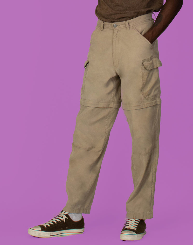 CAMEL ZIP OFF CARGO PANTS