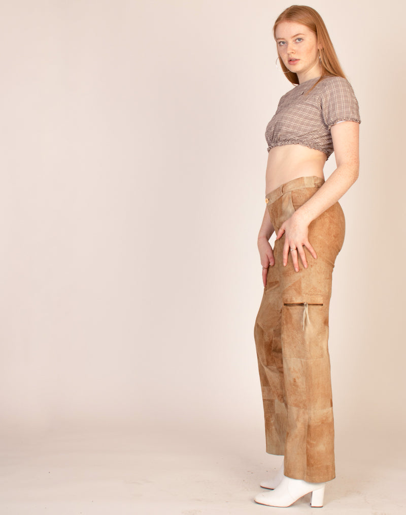 SUEDE PANELLED COMBAT TROUSERS