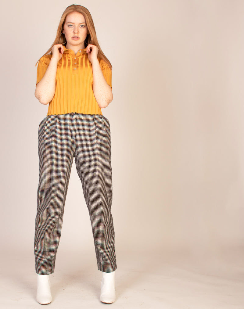 HOUNDSTOOTH WIDE LEG TROUSERS