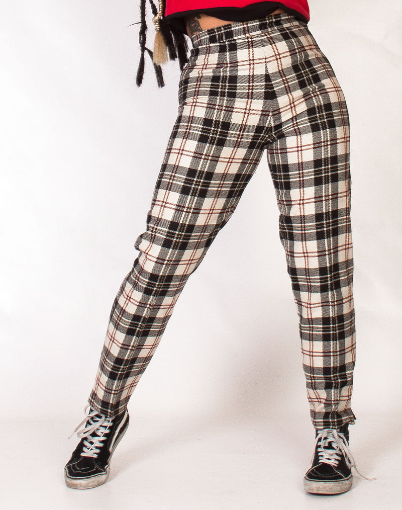 WHITE TARTAN WOOL TROUSERS