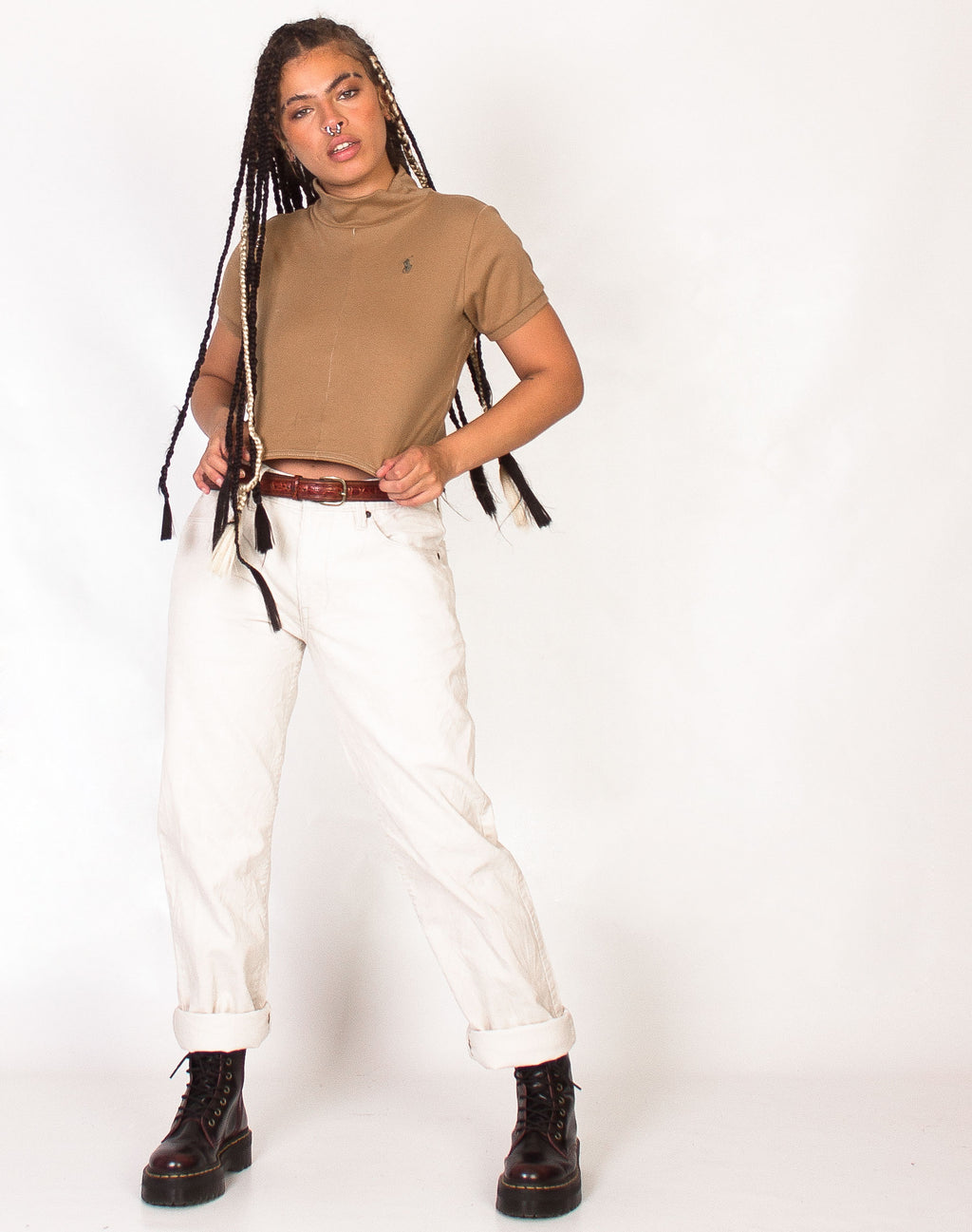 CREAM MINI CORD TROUSERS
