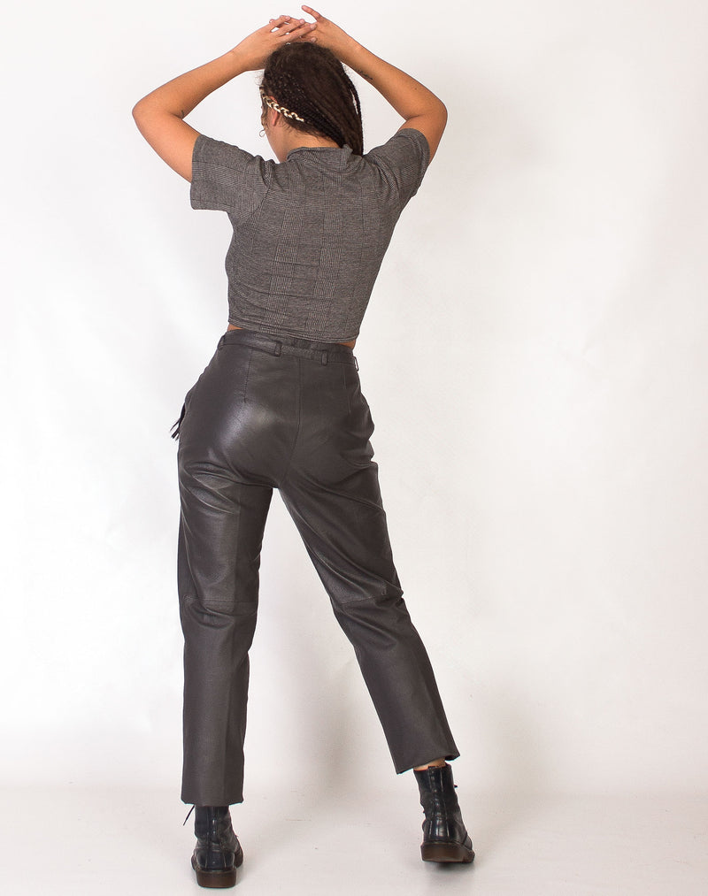 GREY TAPERED LEATHER TROUSERS