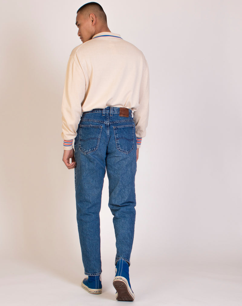 LEE ORIGINAL MID WASH DENIM JEANS
