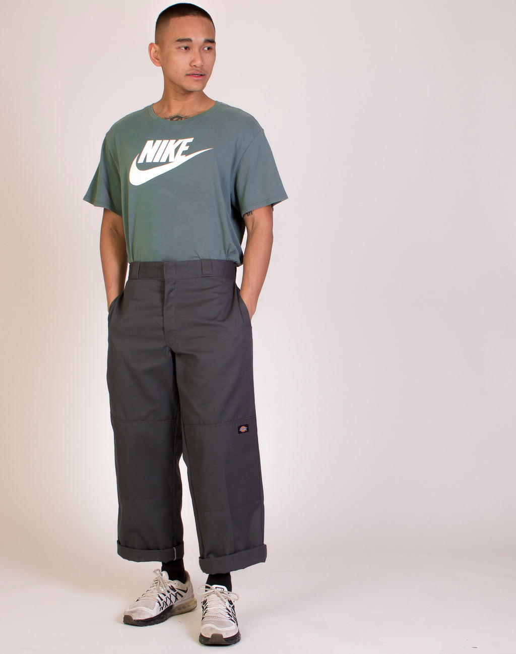 DICKIES STRAIGHT LEG GREY PANEL TROUSERS