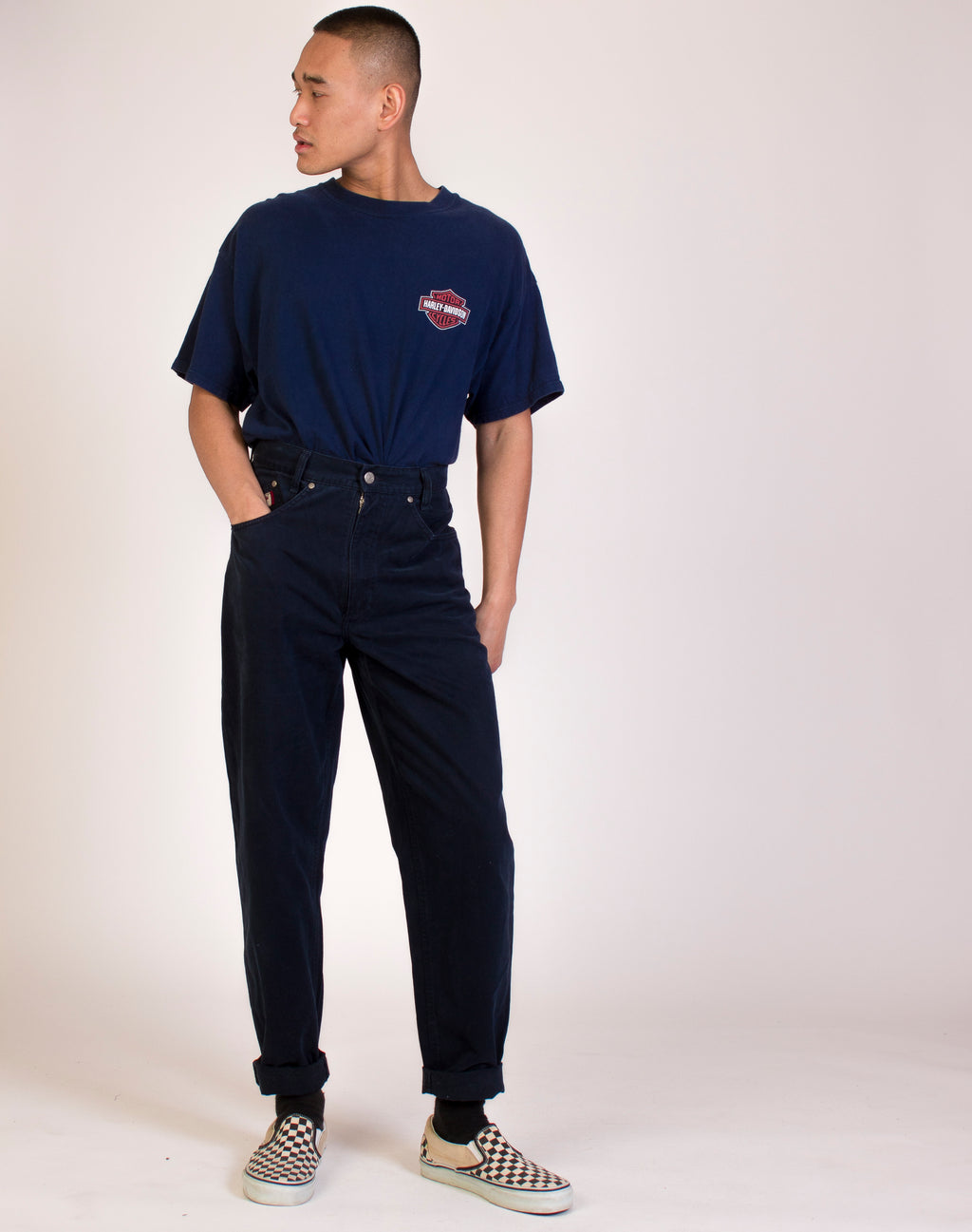 NAVY DAD JEANS