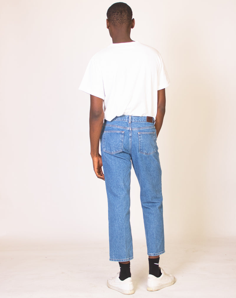 BLUE MID-RISE DENIM JEANS