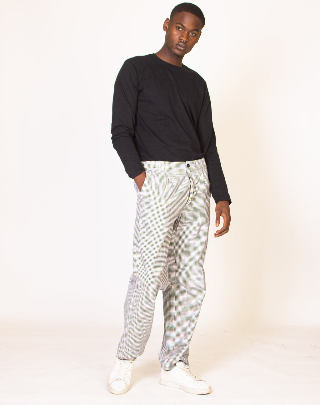 COW CUSTOM GINGHAM STRAIGHT LEG TROUSERS