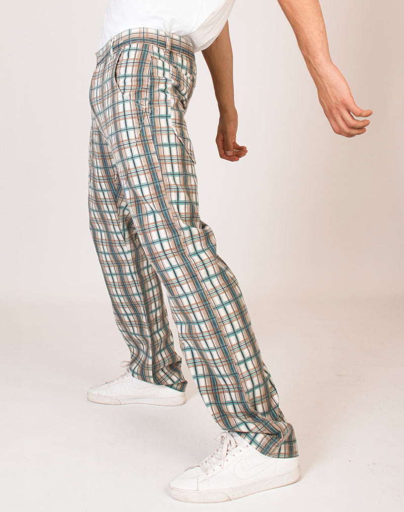 BROWN AND BLUE CHECK TROUSERS