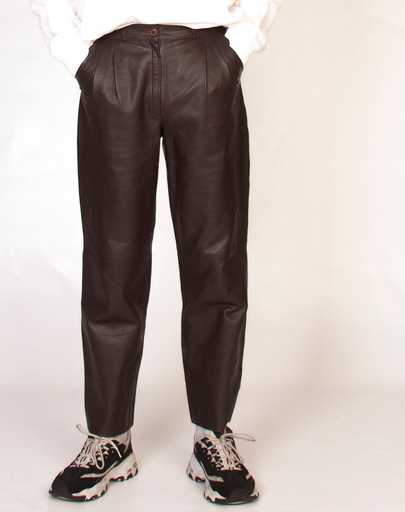 CHOCOLATE BROWN LEATHER TROUSERS