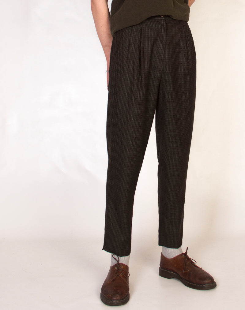 DEEP GREEN POINTILIST TROUSERS