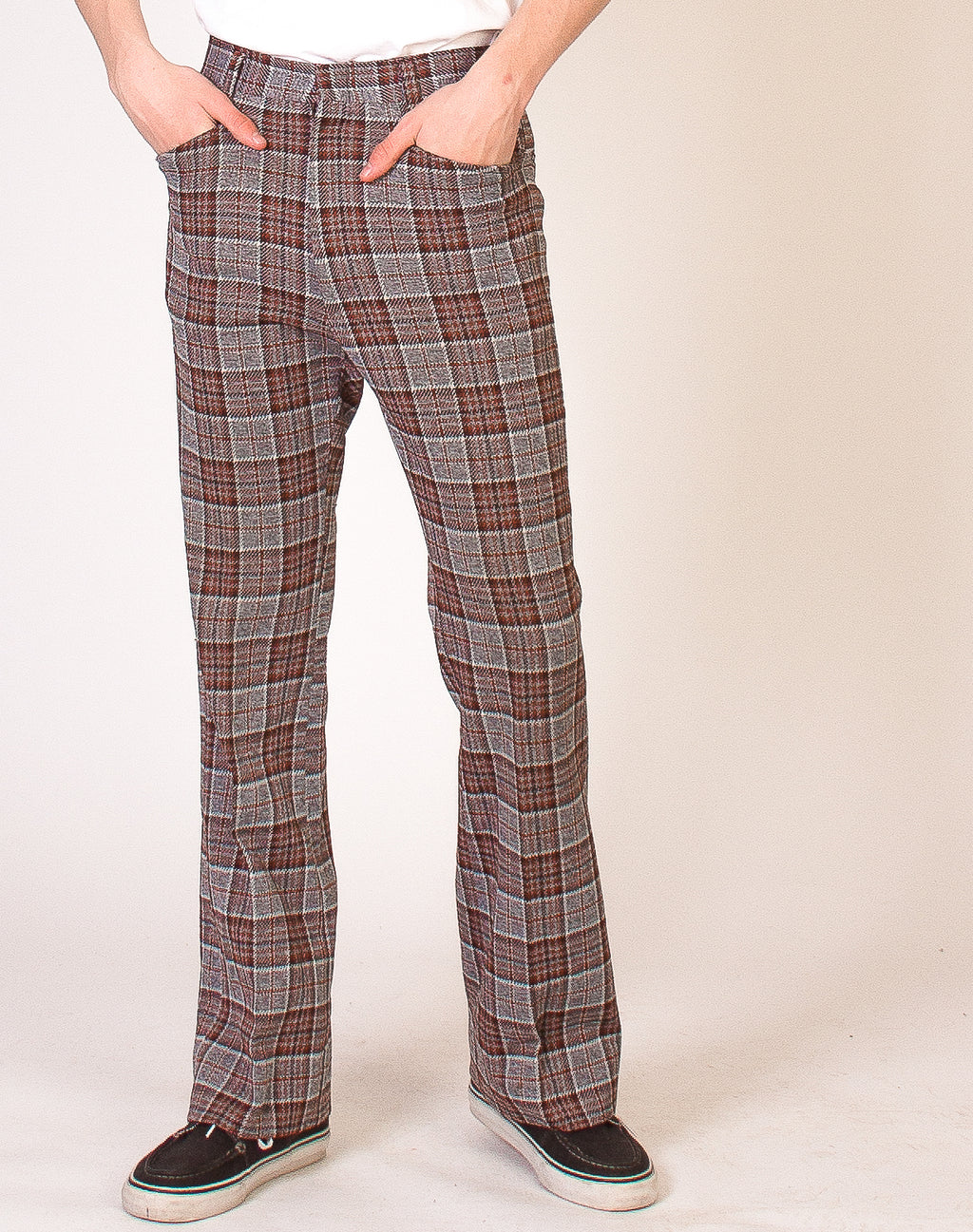 GREY AND RUST 70'S TROUSERS