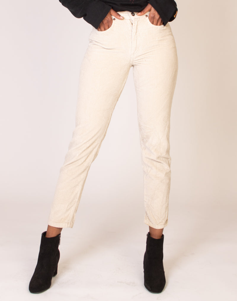 CREAM CORD MID RISE TROUSERS